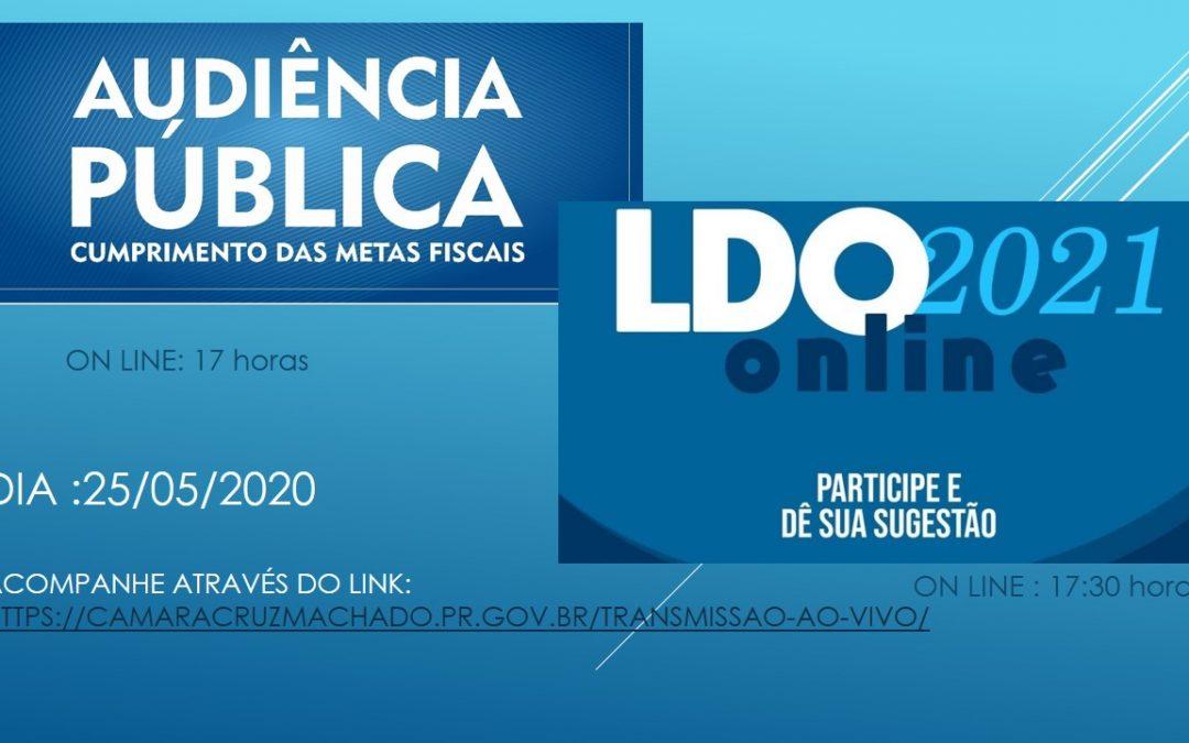 Convite para Audiência Pública de Avaliação Metas Fiscais do 1º Quad. 2020 & LDO 2021!