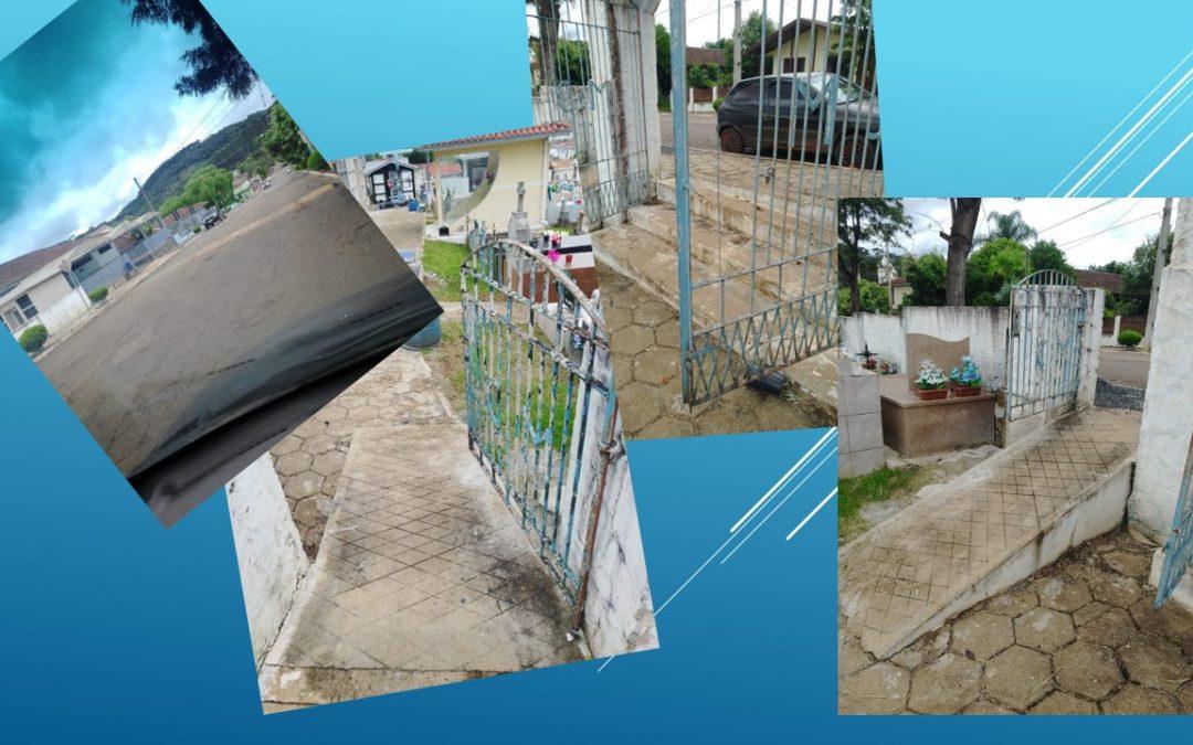 Vereador sugere melhorias no acesso do Cemitério Municipal e colocação de faixa de pedestres elevada, em frente a Capela Mortuária.